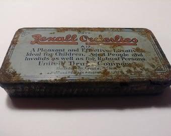 Antique 1924 Rexall Orderlies Laxitive Tin