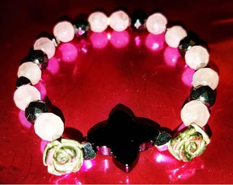 Bracelet Onyx Roses Cupid