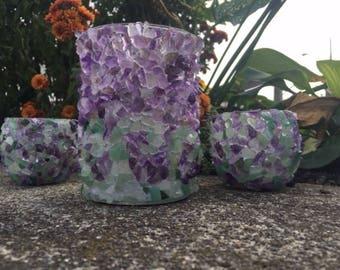 Amethyst/Amazonite Candle Holder Set