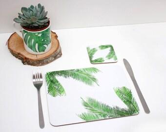 Tropical Palm leaf Placemat | Tabletmat set | Jungle Placemat | Table Setting | Modern Home | Flower Placemats | Place mat