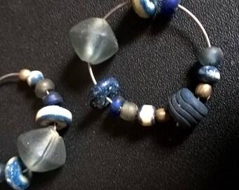 1970s blue bead hoop earrings