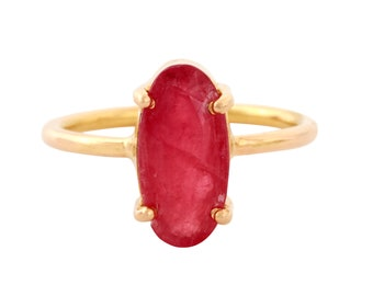 Ring yellow gold and Rhodonite
