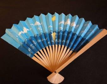 Ocean hand-painted fan