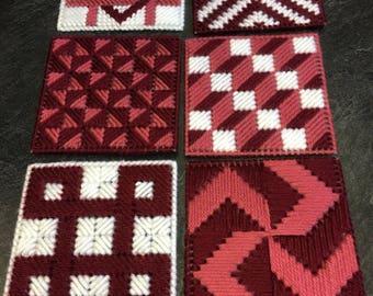 Needlepoint plastic canvas coasters - Set of 6