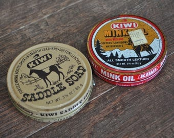 Kiwi Saddle Soap & Kiwi Mink Oil Tins