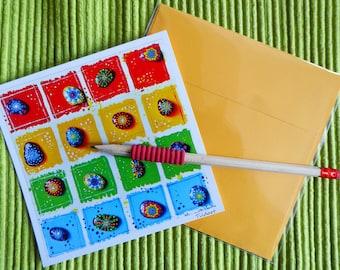 "reproduction ""Pins""! Original Tildardart square format card 14cm + envelope color"