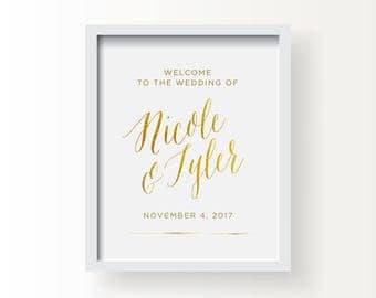 8x10_Gold Wedding Sign_Customized Welcome to our Wedding