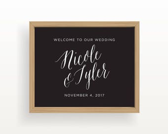 8x10_White on Black Wedding Sign_Customized Welcome
