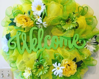 Yellow and green deco mesh welcome wreath with flowers
