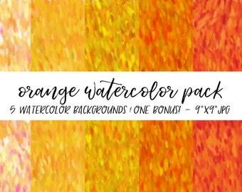 Watercolor Backgrounds Pack, Textures Bundle, Watercolor Digital Paper, Orange Watercolor Background, Watercolor Background
