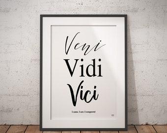 Veni Vidi Vici, Inspirational Quote, Dorm Decor, Home Decor, Wall Art, Printable, Instant Download, Digital File