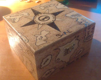 Hand-burned wooden box: Map of Fantasy Worlds. Pyrography.