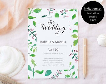 Wedding Invitation Suite, Wedding Invitation Suite Template, Floral Invitation Suite, Wedding Invite Suite Printable, Invite Suite Printable
