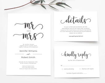 Wedding Invitation Set Printed, Mr and Mrs Wedding Invitation, Printable Wedding Invitation Sett, Wedding Invite Suite Printable, PDF edit