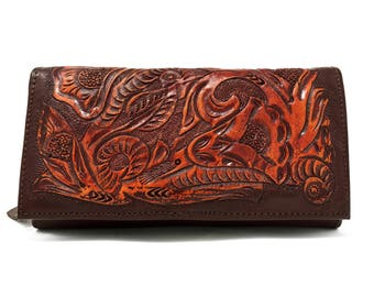Brown womens leather wallet, handmade wallet, hand painted wallet, tooled leather, floral, carved, clutch, womens wallet, ladies wallet
