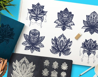 Boho Mandala Lotuses Collection. Vector Indian Art. Yoga Background, Wall Art, Eastern Clipart, Digital Images