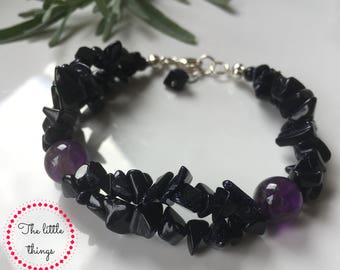 Jewellery Set,Sterling Silver Earrings and Bracelet from Blue Goldstone and Amethyst, sparkling, unique,
