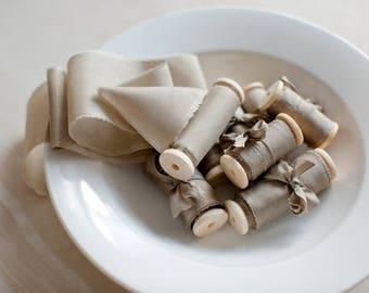 Silk ribbon, hand-dyed, Plant-dyed Light Elm 100% pure silk habotai ribbon