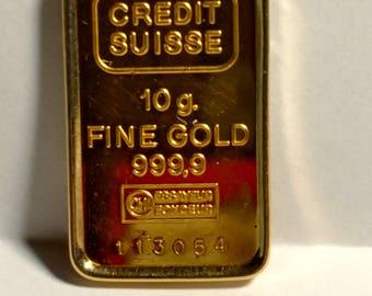 24K 999.9 Fine Gold Credit Suisse 10g bullion ingot in 14K Yellow Gold Pendant