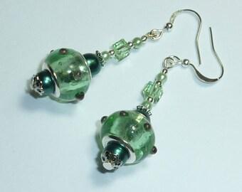 """green water """"e.t."""" Silver earrings jewelry"""
