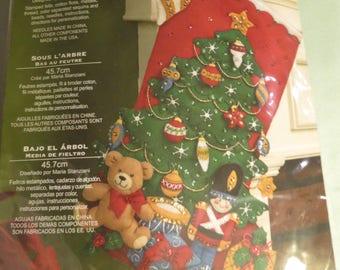 Bucilla Under The Tree Felt Stocking - 2011 New/Unopened #86303