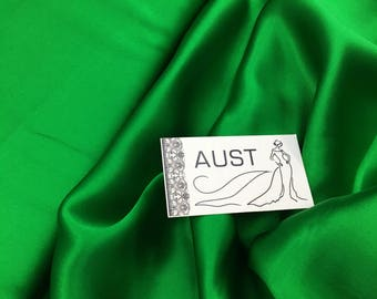 """Pure silk Green color, plain dyed fabric by the metre 110 cm (43"""") wide  by the Yard silk fabric"""