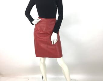 80s red genuine leather pencil skirt, 1980s leather skirt, red leather skirt, fitted red leather skirt