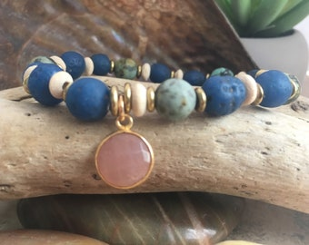 Vibrant handcrafted gemstone stretch bracelet.