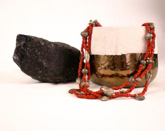 Stone and Metal Statement Necklace with coins
