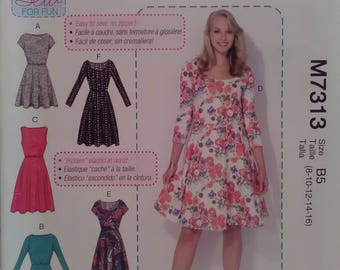 McCall's 7313 brand new unused unopened sewing pattern dress 6 styles stretch jersey knits fabric