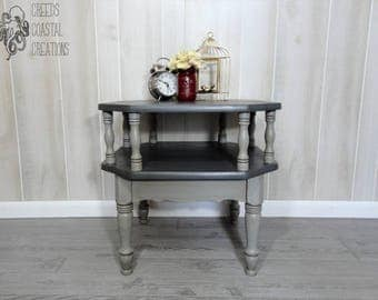 Gray Layered Rustic Farmhouse 2 Tier Octagon End Table/Side Table/Magazine  Stand