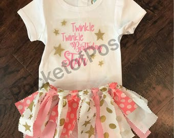 Twinkle Twinkle Birthday Star First Birthday Pink and Gold Tutu