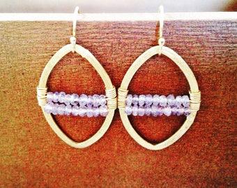 Tanzanite Earrings/ gemstone wrapped earrings/