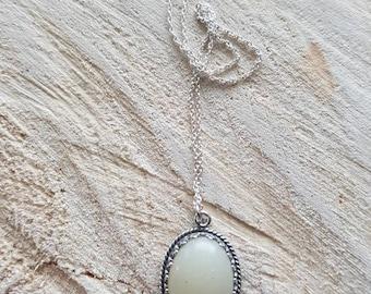Oval Crown Bezel Necklace; breastmilk jewelry