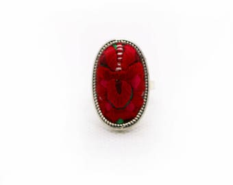 Silver ring Oval and embroidery/Miao Miao Silver Oval-shaped Ring