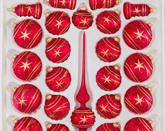 "Navidacio 39pcs Christmas Balls Ornaments Set ""Ice Red Gold"" Comet New"