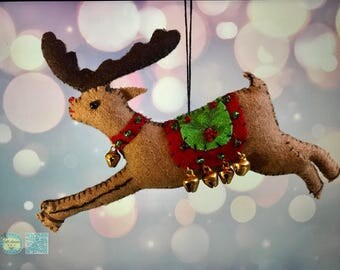 hand stitched deer Christmas Handcrafted felt Christmas tree decoration / felt hanging ornament chic felt / primitive decoration rustic deer