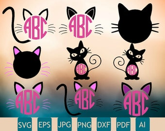9 Cat Monograms SVG   Cat Monogram DXF   Custom Cat Monogram   Printable   Cricut   Instant Download