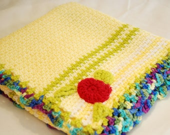 Hand Crochet Baby Blanket- Yellow, Green, Floral