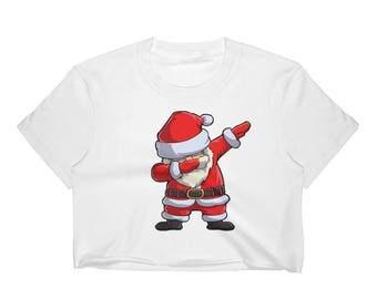Dabbing Santa T-Shirt - Funny Santa Claus Gift For Christmas Women's Crop Top