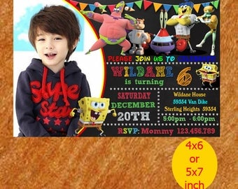 Jpeg invitation etsy sponge bob birthday invitation sponge bob invitation sponge bob birthday sponge bob invite stopboris Image collections