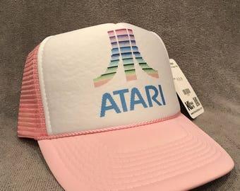 ATARI Trucker Hat Old Video Game Logo Vintage Style Snapback Cap Pink 2180