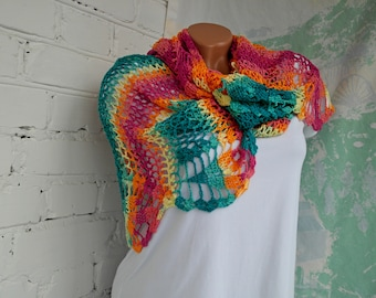 Boho crochet scarf Crochet scarf Rainbow crochet scarf  Rainbow scarf Beach shawl Bohemian scarf Lace crochet scarf  Gift for her