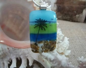 Glass 'landscape' pendant necklace in blues and green