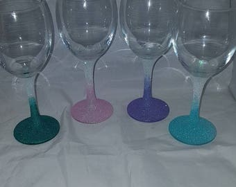 Individual glitter glasses,  glasses, basic glitter glass, cheap gifts, stem and base glitter glass