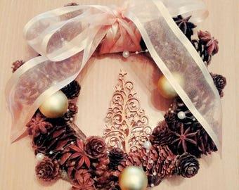 Handmade Pinecone Christmas Wreath