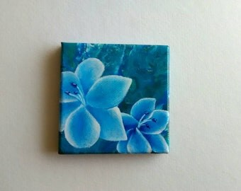 Lilies Mini Painting | Canvas Art | Mini Art | Tiny Art | Original Art | Decor | Abstract Art | Painting | Small Art | Lily Art | Flower