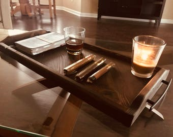 Rustic Ottoman Coffee Table Serving Tray