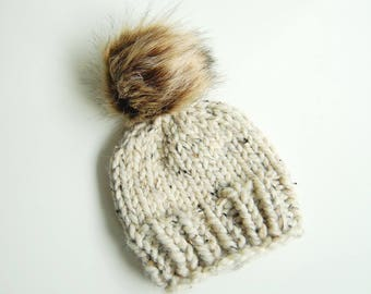 Newborn Knit Toque - Oatmeal Fur Pom