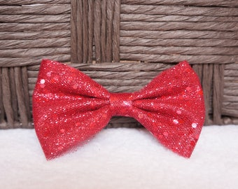 Valentine's Hair Bow, Valentines Day Hair Bow, Tulle Hair Bow, Toddler Hair Bow, Baby Hair Bow,  Hair Accessory, Glitter Red Hair Bow